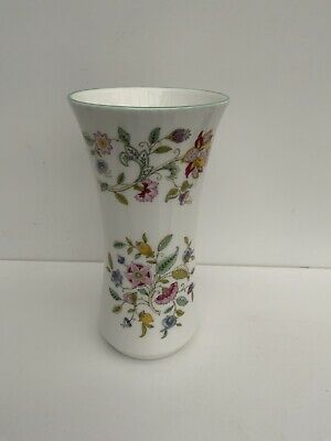 """Minton Haddon Hall Fluted Green With Flowers  Vase 6 1/4"""" Tall • 7.50£"""