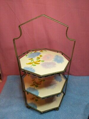 1930s Coronet Ware Parrot & Co,  Tiled 3 Their Cake/bun Stand  • 90£