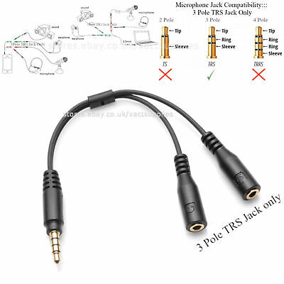 £3.89 • Buy 3.5mm AUX Headphone Mic Y Splitter Cable 4Pole TRRS Male To 2x 3 Pole TRS Female