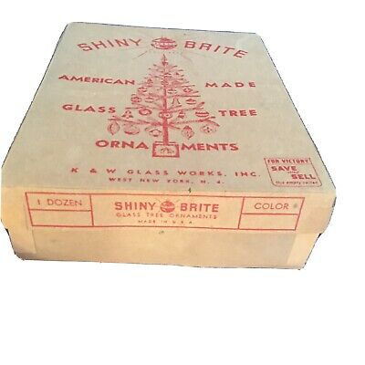 $ CDN31.71 • Buy Vintage Early Shiny Brite Christmas 12 Ornaments & Box  K & W Glass Works