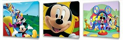 Mickey Mouse Club House Canvas Wall Art Plaque Pictures Set Of Three • 9.99£