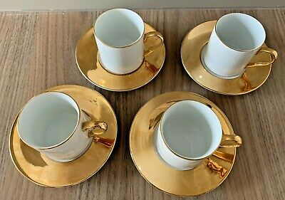 4 Set China Porcelain Cups & Saucers- ESPRESSO Coffee Tea Cup Saucer- Gold/White • 8.50£