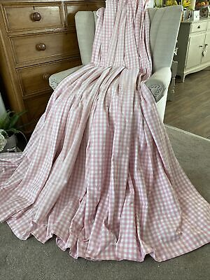 """VCC 3460. LAURA ASHLEY """"GINGHAM """" PINK/ WHITE HEAVY COTTON CURTAINS 185x195cm • 45£"""