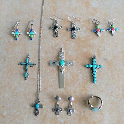 $ CDN159.88 • Buy ~Religious~ 925 Sterling Silver Turquoise & Multi-Stone Mixed Jewelry Lot