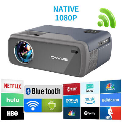 AU205.99 • Buy CAIWEI Smart HD Android 7.1 Projector Wifi Blue-tooth 1080p Home Cinema Video