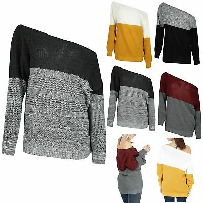 Womens Contrast Block Ladies Chunky Knitted Off The Shoulder Oversized Jumper • 9.49£