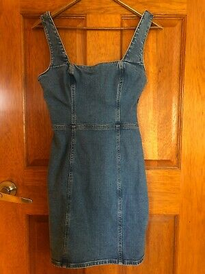 AU15 • Buy Urban Outfitters BDG Denim Open Back Pinafore Dress Size S 8