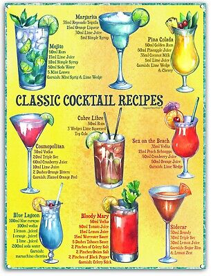 £6.49 • Buy Metal Sign. Classic Cocktail Recipes. Pub Shed Tin Plaque. Home Bar Notice.