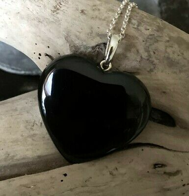 Large Hand Crafted Solid Whitby Jet Heart Pendant #02 • 55£