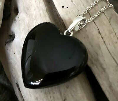 Medium Sized Hand Crafted Solid Whitby Jet Heart Pendant #03 • 48£
