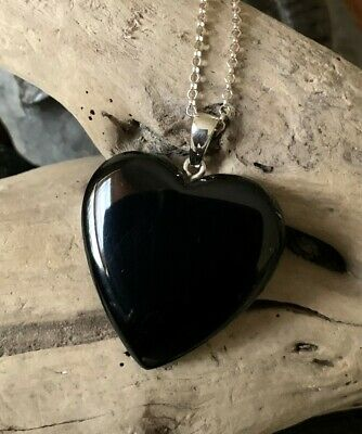 Large Hand Crafted Solid Whitby Jet Heart Pendant #04 • 55£