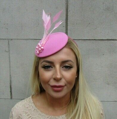 Light Pink Feather Fascinator Pillbox Hat Baby Pink Wedding Races Pearl Hair U1 • 26.95£