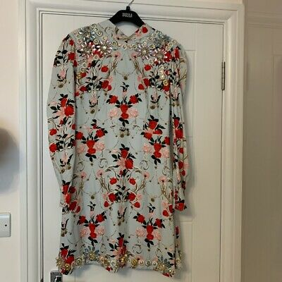 £80 • Buy Topshop Mini Floral Embellished Beaded Polo Neck Dress Puff Sleeves Open Back