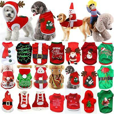 Pet Cat Dog Christmas Outfit Set Costumes Sweater Hoodie Dress Xmas Clothes Coat • 7.12£