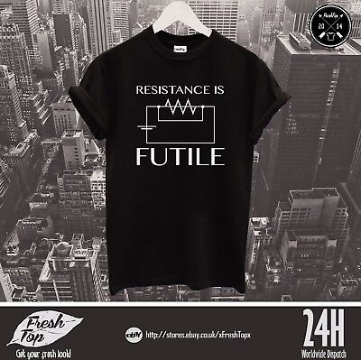 £9.99 • Buy Resistance Is Futile T Shirt Electrician Ohm Law Science Engineer Teacher Gift
