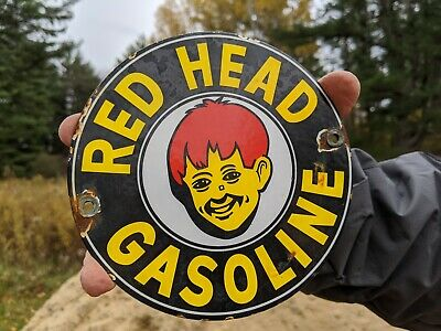 $ CDN24.06 • Buy Old Vintage 1940's Red Head Gasoline & Motor Oil Porcelain Gas Station Door Sign