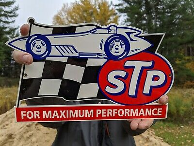 $ CDN57.47 • Buy 1960's Heavy Old Vintage Stp Gasoline Motor Oil Porcelain Station Sign Gas & Oil