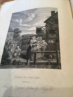William Hogarth,  1833 Antique Engraving Print - Times Of The Day - Evening • 5£