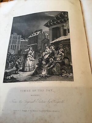 William Hogarth,  1833 Antique Engraving Print - Times Of The Day - Morning • 5£