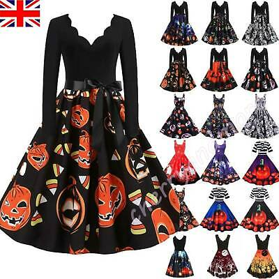 2020 Women Halloween Witch Pumpkin Dress Retro Rockabilly Party Swing Dresses UK • 11.39£