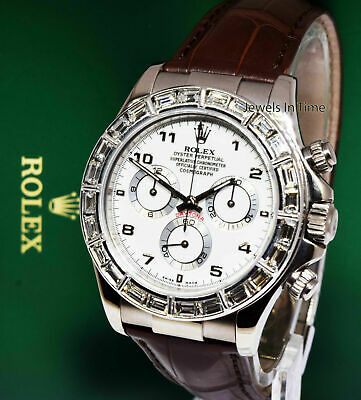 $ CDN30000.24 • Buy Rolex Daytona Chronograph 18k White Gold Diamond Bezel Watch & Box K 116519