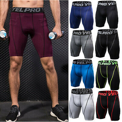 Mens Compression Shorts Base Layer Pants Workout Gym Sport Running Fitness Soft • 10.25£