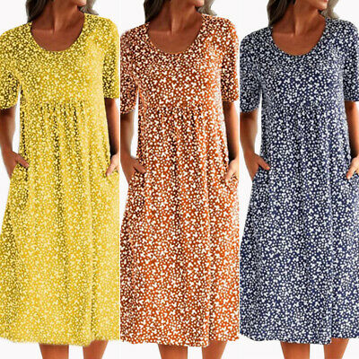 Women Short Sleeve Midi Dress Lady Boho Floral Holiday Beach Sundress Autumn UK • 11.69£