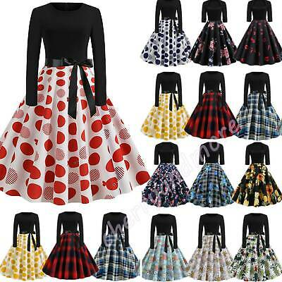 Women Lady Winter Long Sleeve Vintage Rockabilly 50s 60s Housewife Swing Dresses • 10.49£