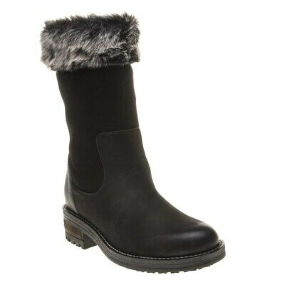 New Womens Superdry Black Fur Temptor Suede Boots Flats Pull On • 50£