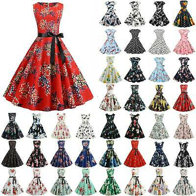 Women's Xmas 1950s 60s Retro Vintage Floral Rockabilly Hepburn Party Swing Dress • 12.29£