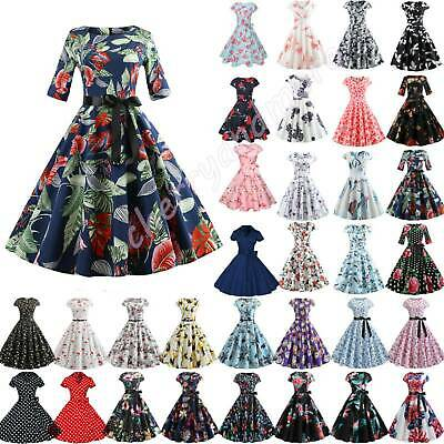 Women Vintage Polka Dot ROCKABILLY Swing Pinup Party Housewife Dress Xmas Sizes • 13.29£