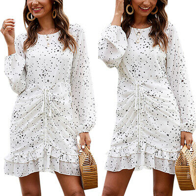 Women Floral Dress Long Sleeve Ruffle Sundress Casual Party Beach Midi Dresses • 14.69£