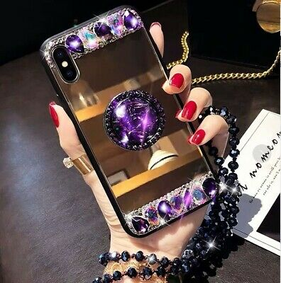 AU8.96 • Buy New Hot Luxury Fashion Diamond Mirror Bracket Chain Case Cover For Various Phone