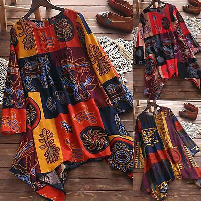 Plus Sizes Womens Boho Printed Tops Loose Casual Tee Shirts Blouse Tunic Sizes • 11.89£