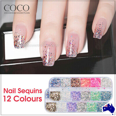 AU5.99 • Buy New 12 Color Holographic Nail Sequins Glitter Flakes Sparkle Confetti Art Decal