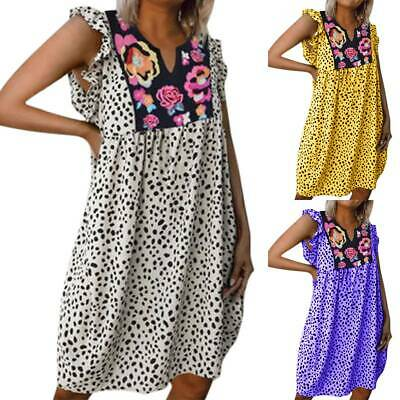 Women Autumn Tunic Sleeveless Floral Midi Dress Loose Baggy Beach Slip Sundress • 12.99£