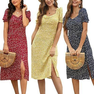 Women Short Sleeve Autumn Midi Sun Dresses Ladies Casual Beach Holiday Floral UK • 11.49£