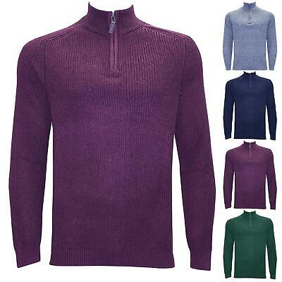 Mens Long Sleeve High Neck Zip Up Sweater Jumper Knitted Thick Warm Stylish Top • 5.99£