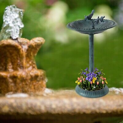 Garden Bird Bath Bowl With Sparrow Statue Traditional Pedestal Ornamental Feeder • 17.69£
