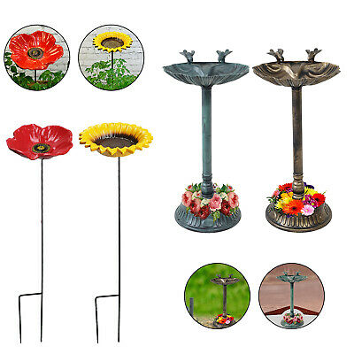 Garden Traditional Ornament Bird Bath Water Bowl With Planter Bronze/Green • 16.89£