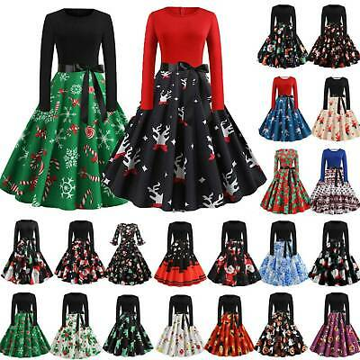 Womens Christmas Xmas Santa Swing Dress Winter Vintage Rockabilly Skater Dresses • 11.29£