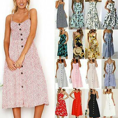Women Strappy Buttons Midi Dress Ladies Summer Holiday Beach Swing Sundress Hot • 11.59£
