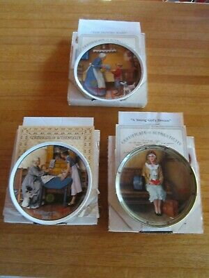 $ CDN38.86 • Buy Lot 3 Bradford Exchange Knowles Norman Rockwell Collector Plates With Papers Box