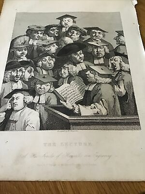 William Hogarth,  1833 Antique Engraving Print - The Lecture - Oxford University • 10£