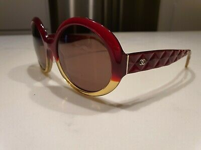 AU50 • Buy CHANEL Sunglasses 5120 Red & Light Amber Quilted PLS READ DESCRIPTION
