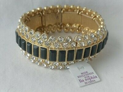 $ CDN18.03 • Buy Lia Sophia MODELINA Stretch Bracelet Sparkling Clear And Black Crystals Elastic