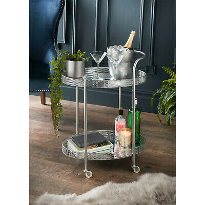 £44.50 • Buy Deco Glamour Drinks Trolley Two Mirrored Shelves Eye Catching Design With Castor