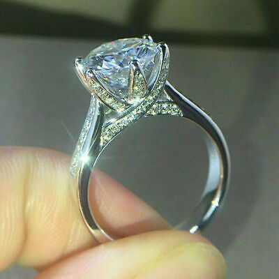 3 Ct VVS1 Round Cut Diamond Engagement Wedding Ring 14k White Gold Over Size J-T • 96£