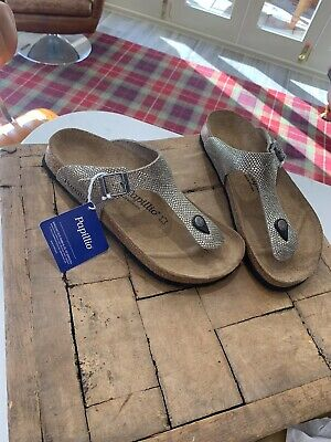 Birkenstock Papillio Gizeh Gray Python Leather Size 40 New • 16£