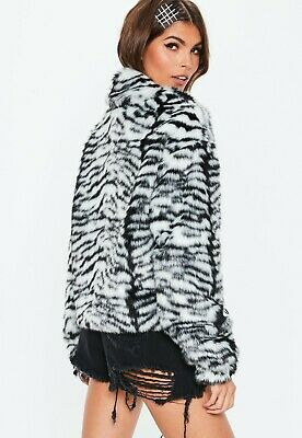 Missguided SOLD OUT Zebra Print Faux Fur Coat Jacket Size 6 BNWT  • 18£